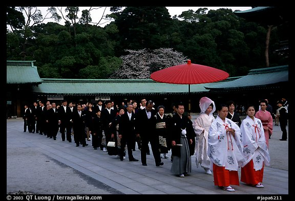 Traditional Shinto wedding procession at the Meiji-jingu Shrine. Tokyo, Japan