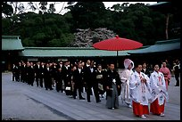 Traditional Shinto wedding procession at the Meiji-jingu Shrine. Tokyo, Japan (color)