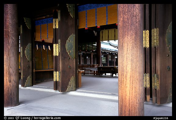 Wooden pilars and hall, Meiji-jingu Shrine. Tokyo, Japan
