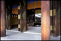 Wooden pilars and hall, Meiji-jingu Shrine. Tokyo, Japan (color)