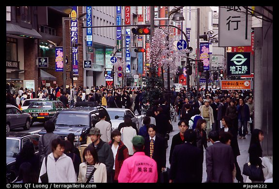 People in the Ginza shopping district. Tokyo, Japan (color)