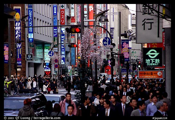 Street in Shinjuku 3-chome looking towards Yotsuya in front of Kinokuniya. Tokyo, Japan