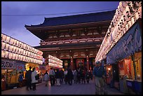 Nakamise-dori and  Senso-ji temple at dusk. Tokyo, Japan (color)