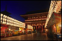 Nakamise-dori and  Senso-ji temple by night. Tokyo, Japan