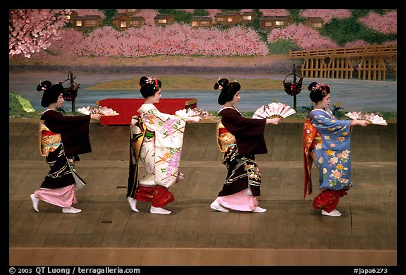 Maiko (apprentice Geisha) dress elaborately to perform the Miyako Odori (cherry blossom dance). Kyoto, Japan