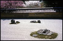 Classic stone and raked sand Zen garden, Ryoan-ji Temple. Kyoto, Japan ( color)