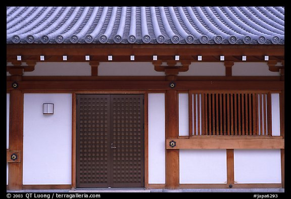 Roof and wall detail, Sanjusangen-do Temple. Kyoto, Japan (color)