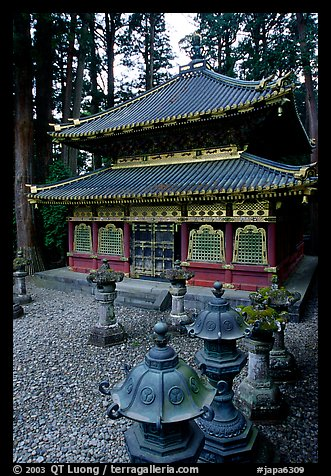 Urns and pavilion. Nikko, Japan (color)