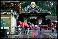 Honden (main hall) of Tosho-gu Shrine on a rainy day. Nikko, Japan ( color)