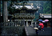 Stairs bellow the main hall of Tosho-gu Shrine on a rainy day. Nikko, Japan