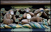 Three-monkey relief carving (hear no evil, see no evil, speak no evil) on Shinkyusha. Nikko, Japan ( color)