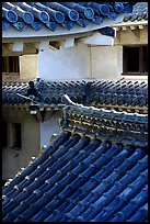Roofs and walls inside the castle. Himeji, Japan
