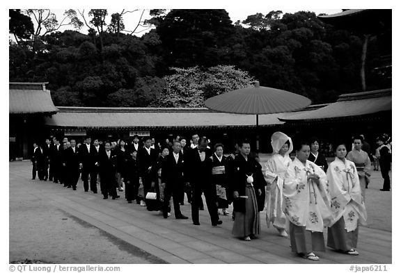 Traditional Shinto wedding procession at the Meiji-jingu Shrine. Tokyo, Japan (black and white)