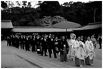 Traditional Shinto wedding procession at the Meiji-jingu Shrine. Tokyo, Japan ( black and white)