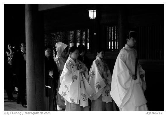 Shinto priest leads traditional wedding at the Meiji-jingu Shrine. Tokyo, Japan