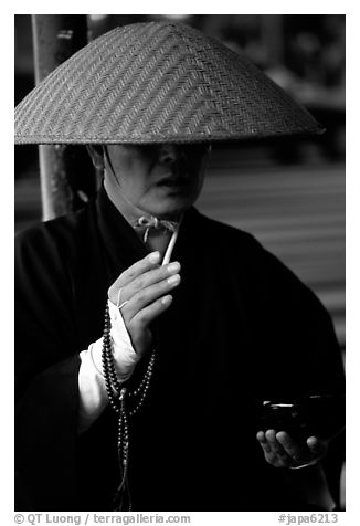 Buddhist monk. Tokyo, Japan (black and white)