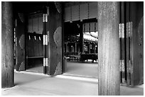 Wooden pilars and hall, Meiji-jingu Shrine. Tokyo, Japan (black and white)