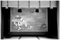 Painted panel, Meiji-jingu Shrine. Tokyo, Japan (black and white)