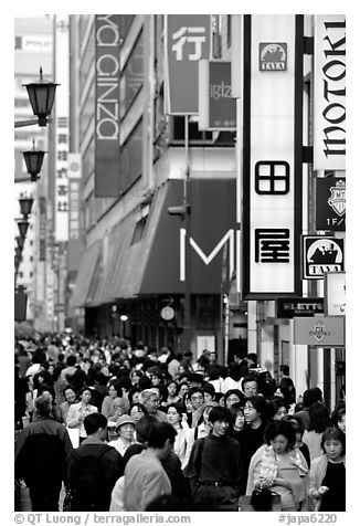 Crowds in the Ginza shopping district. Tokyo, Japan