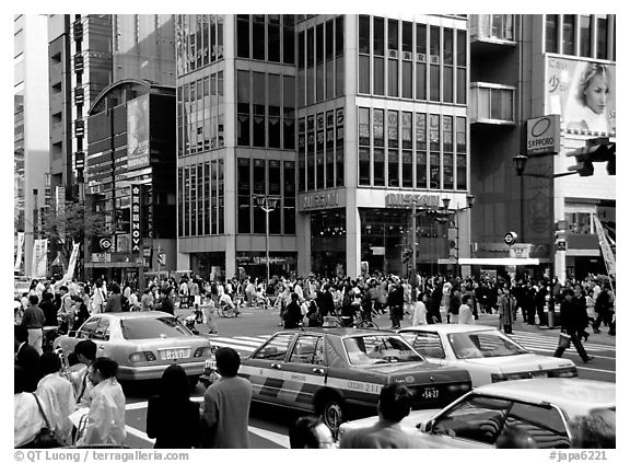 black and white picture photo crowded crossing in ginza shopping district tokyo japan. Black Bedroom Furniture Sets. Home Design Ideas
