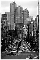 High rises in Shinjuku. Tokyo, Japan (black and white)