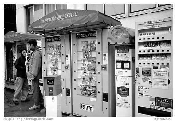 Automatic vending machines dispensing everything, including pornography. Tokyo, Japan (black and white)