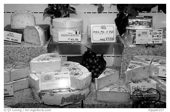 Incredibly high priced imported cheese in a department store. Tokyo, Japan (black and white)