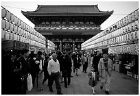 Nakamise-dori, Senso-ji's temple precint's shopping street, Asakusa. Tokyo, Japan (black and white)
