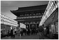 Nakamise-dori and  Senso-ji temple at dusk. Tokyo, Japan (black and white)