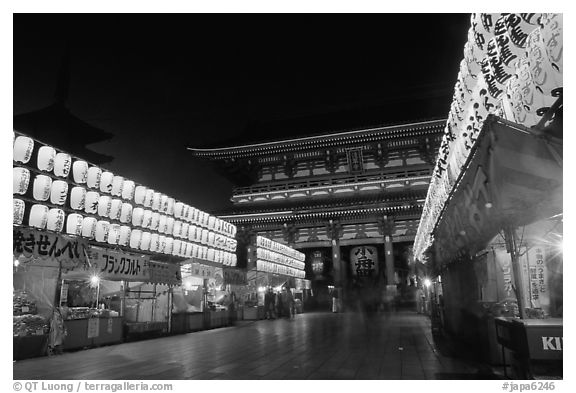 Nakamise-dori and  Senso-ji temple by night. Tokyo, Japan (black and white)