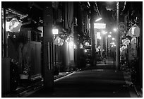 Narrow alley by night. Kyoto, Japan (black and white)