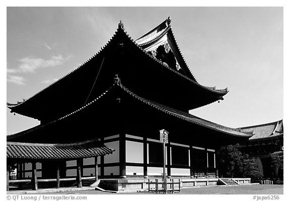 Classical roof shapes of a Zen temple. Kyoto, Japan (black and white)
