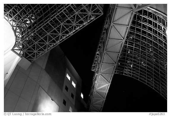 Structures in the train station. Kyoto, Japan (black and white)