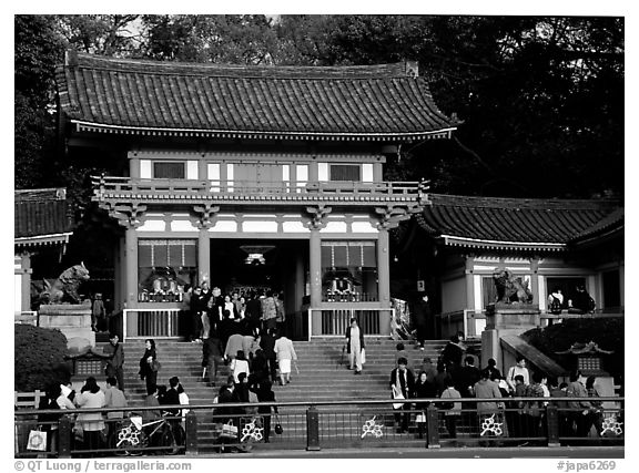 Entrance of the Yasaka-jinja Shrine. Kyoto, Japan (black and white)