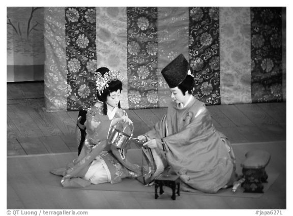 Tea ceremony performed at the Gion Kobu Kaburen-jo theatre. Kyoto, Japan (black and white)
