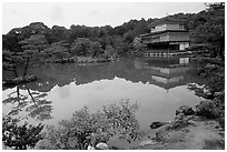 Golden pavilion, Kinkaku-ji Temple. Kyoto, Japan (black and white)