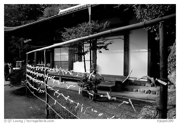 Prayer notes in a temple. Kyoto, Japan (black and white)