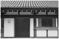 Roof and wall detail, Sanjusangen-do Temple. Kyoto, Japan (black and white)