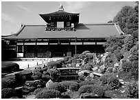Garden and subtemple, Tofuju-ji Temple. Kyoto, Japan (black and white)