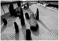 Classic rock and raked gravel Zen garden, Tofuju-ji Temple. Kyoto, Japan (black and white)