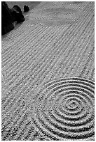 Raked gravel Tofuju-ji Temple. Kyoto, Japan (black and white)
