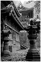 Urns, pavilion, and main hall in Tosho-gu Shrine. Nikko, Japan ( black and white)