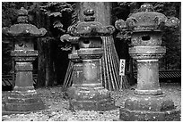 Sacred urns in Tosho-gu Shrine. Nikko, Japan (black and white)