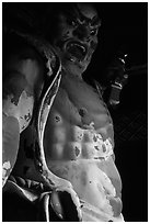 Fearsome statue of Deva King at Omote-mon Gate. Nikko, Japan ( black and white)