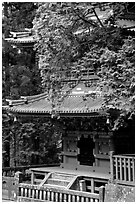 Base of a five story pagoda in Tosho-gu Shrine. Nikko, Japan (black and white)