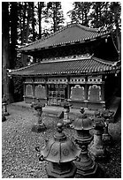 Urns and pavilion. Nikko, Japan ( black and white)