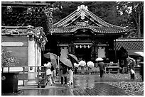 Honden (main hall) of Tosho-gu Shrine on a rainy day. Nikko, Japan (black and white)