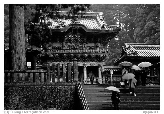 Stairs bellow the main hall of Tosho-gu Shrine on a rainy day. Nikko, Japan (black and white)