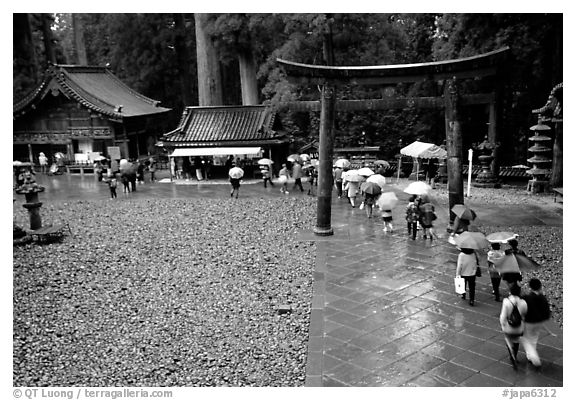 Tori in Tosho-gu Shrine on a rainy day. Nikko, Japan (black and white)