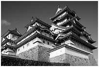 Towering five-story castle. Himeji, Japan ( black and white)